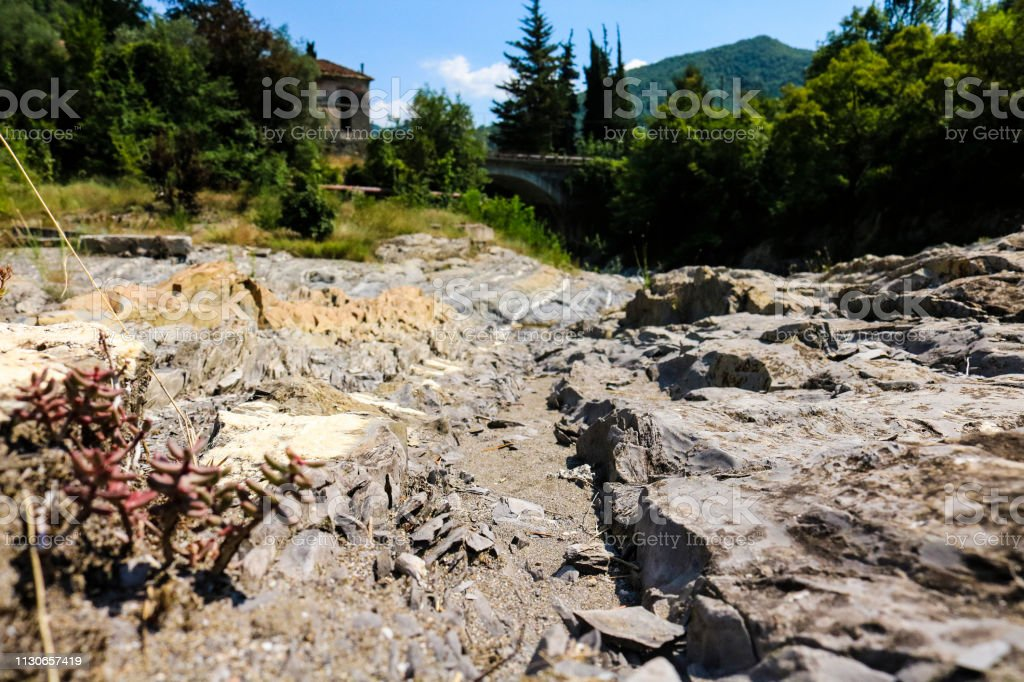 Letto Del Fiume.Letto Del Fiume In Montagna Paesaggio Naturale Stock Photo