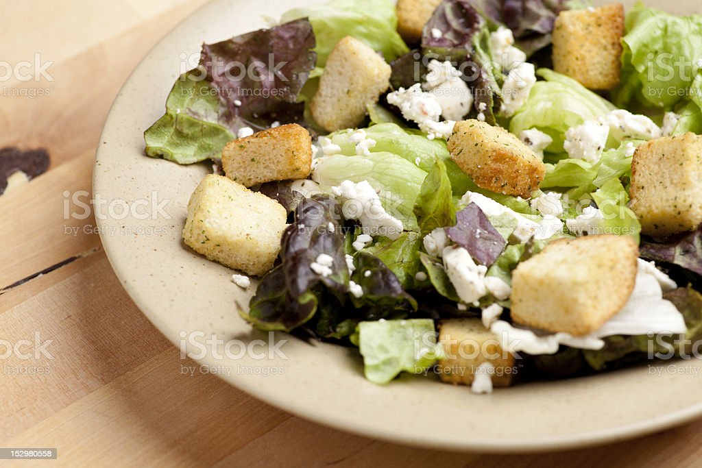 lettuce and feta cheese salad stock photo