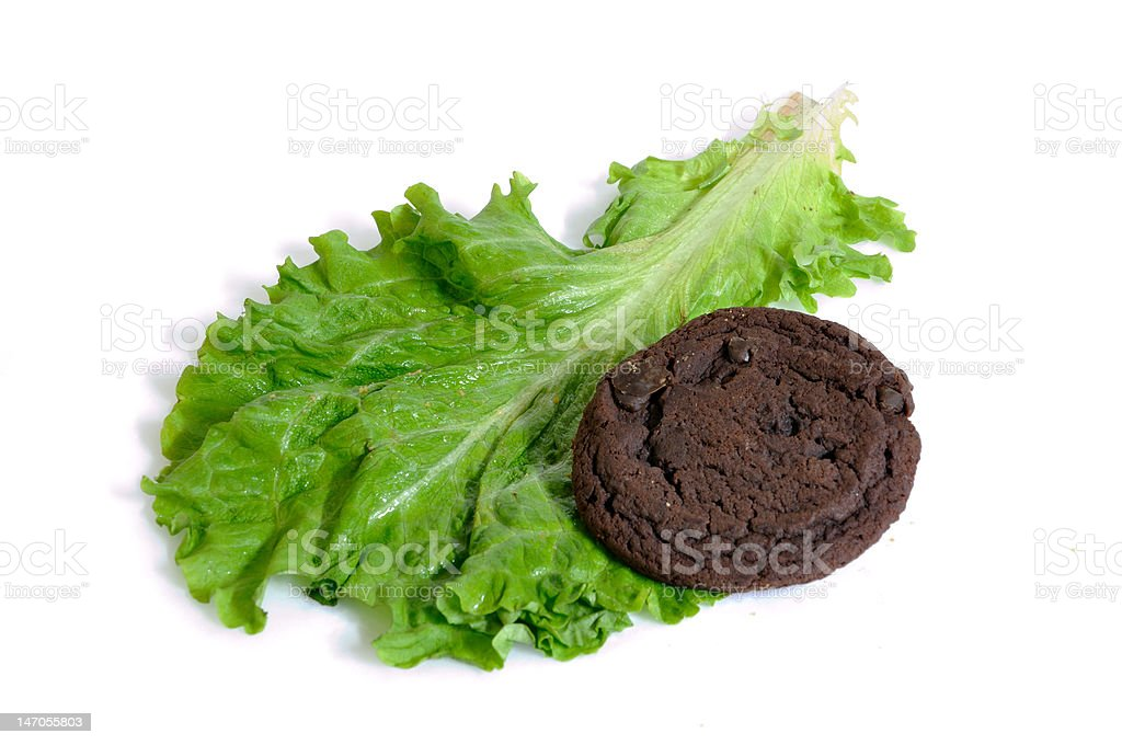 Lettuce or cookies isolated on white background royalty-free stock photo