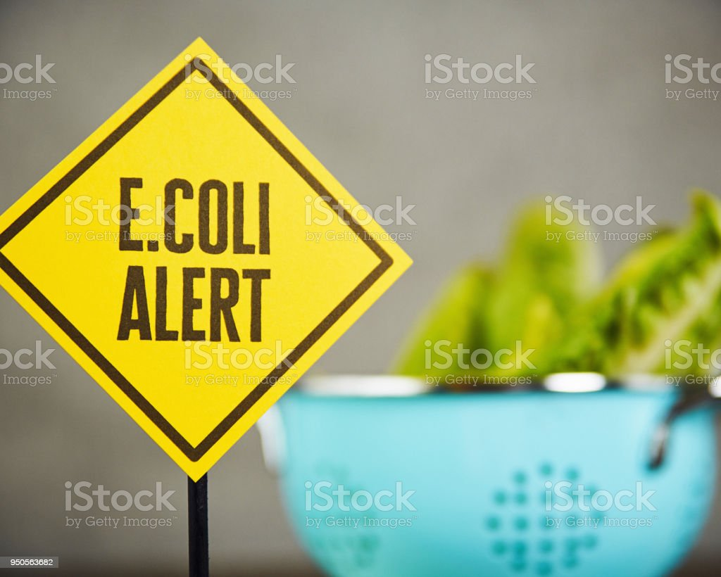 Lettuce with health warning stock photo