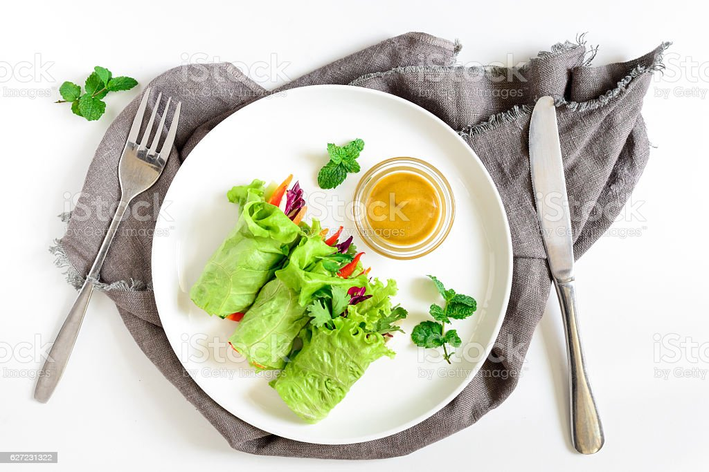 Lettuce wraps, top view stock photo