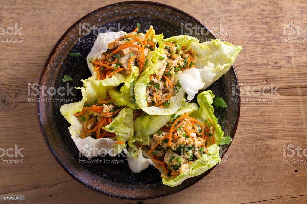 Marul, tavuk, havuç, fıstık ve yeşil soğan ile tamamladı. Tavuk dolması Iceberg marul yaprakları stok fotoğrafı
