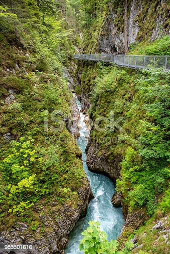 The Leutascher Geisterklamm is a walk on elevated metal walkways high above the Leutascher Ache river and stretches for 3km from Schanz in Austria to Mittenwald in Germany.