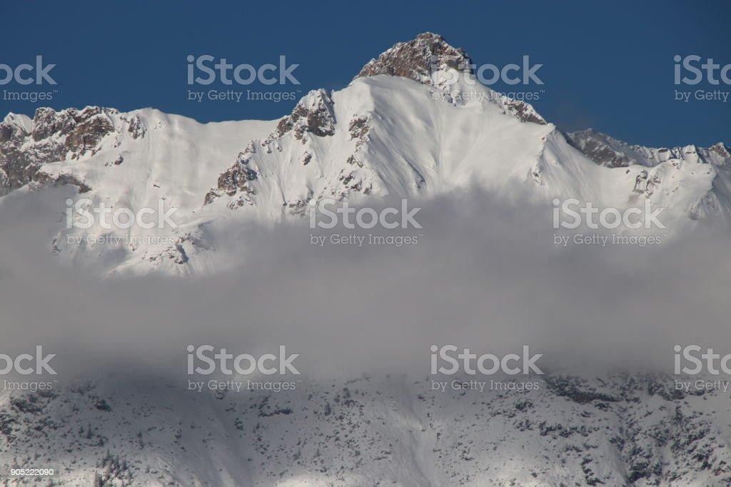 Leutascher Dreitorspitze, Wetterstein Mountains during Winter, Seefeld, Tyrol, Austria stock photo