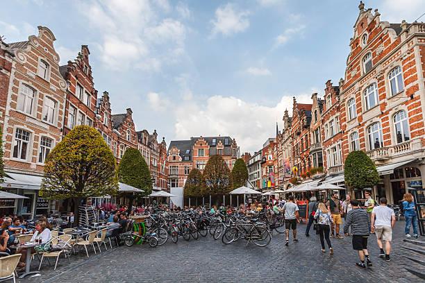 Leuven - The Oude Markt, Belgium stock photo