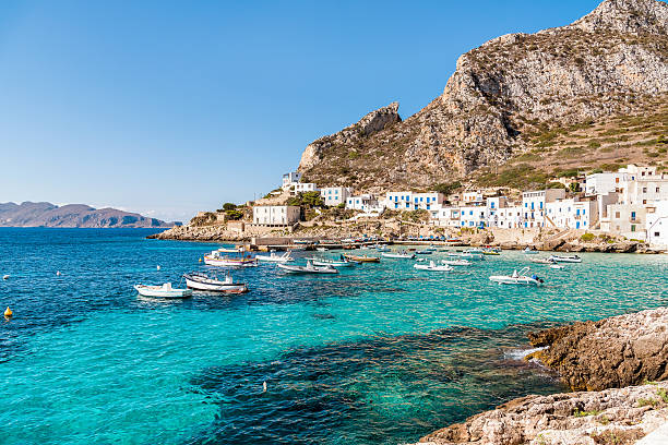 Levanzo island, Italy Levanzo island in the Mediterranean sea west of Sicily, Italy sicily stock pictures, royalty-free photos & images