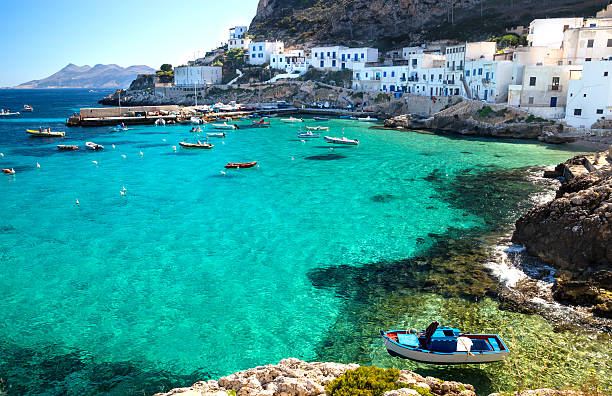 Levanzo Island Trapani Sicily Italy Levanzo Island the little harbour Egadi islands Sicily italy sicily stock pictures, royalty-free photos & images