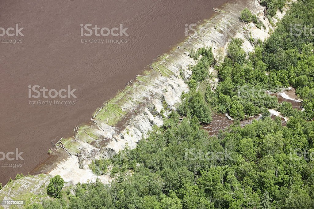Levee Breached by Floodwater stock photo