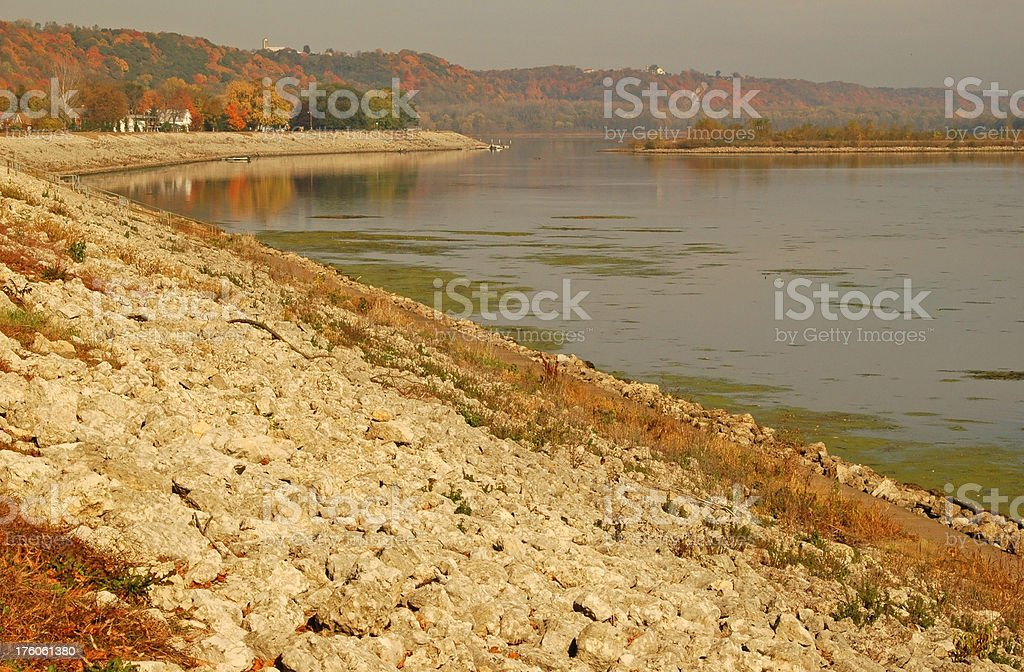 Levee for flood control on Mississippi River in Iowa stock photo