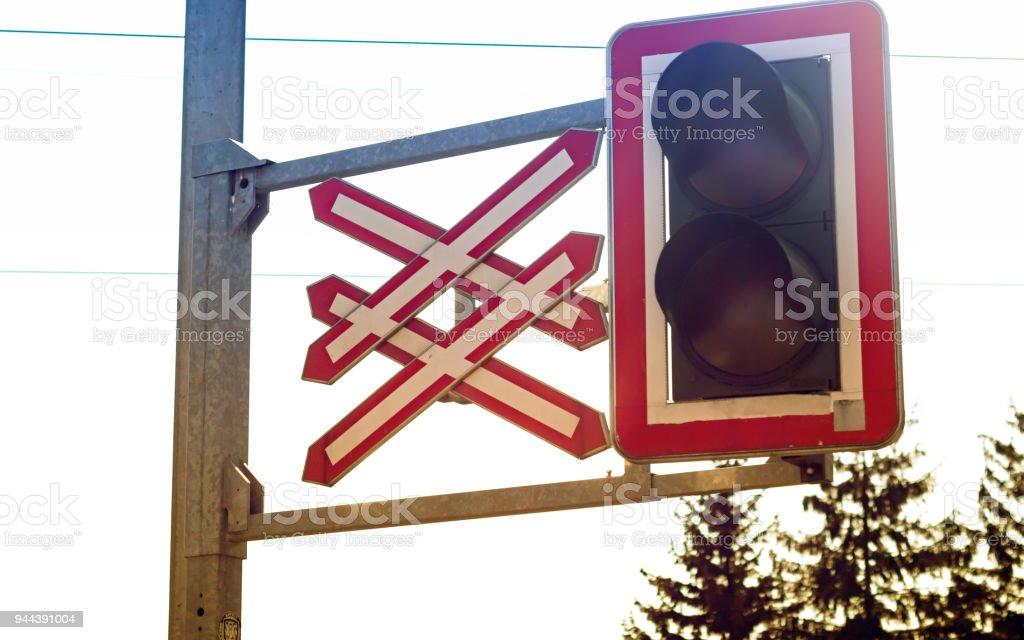 Level crossing light stock photo