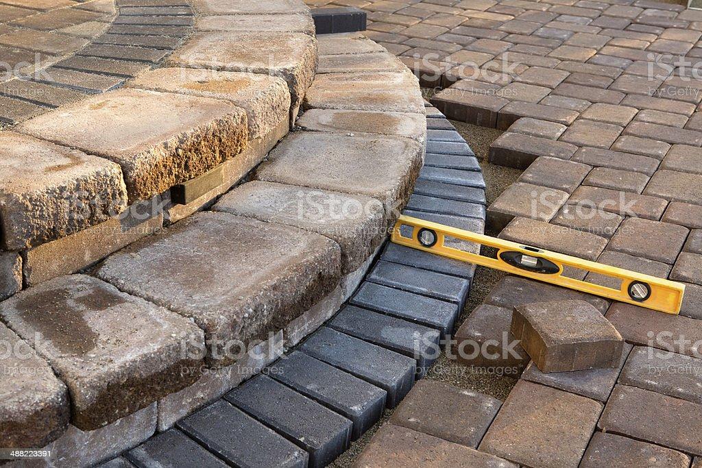 Level on pavers stock photo