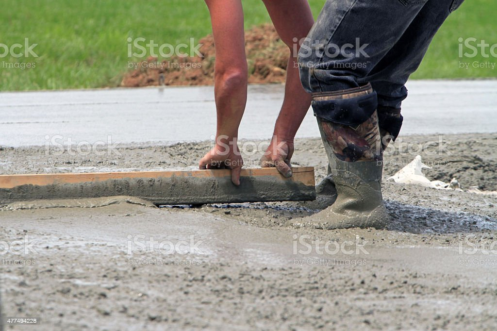 Leveling concrete stock photo