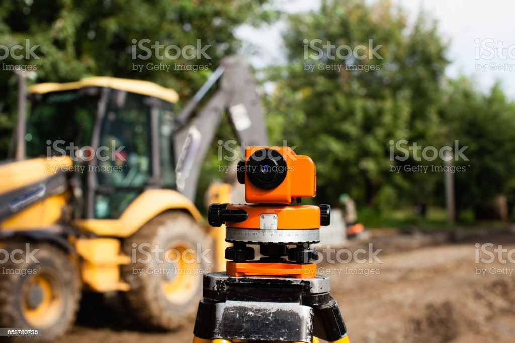 Leveling geodetic equipment stock photo