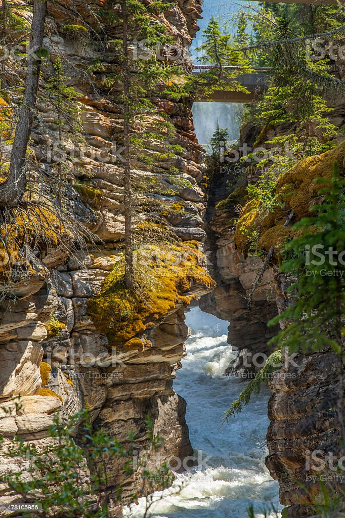 Levels of Athabasca Falls stock photo