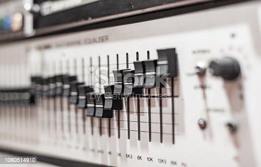 istock Levels on professional electronic equalizer audio equipment 1060514910