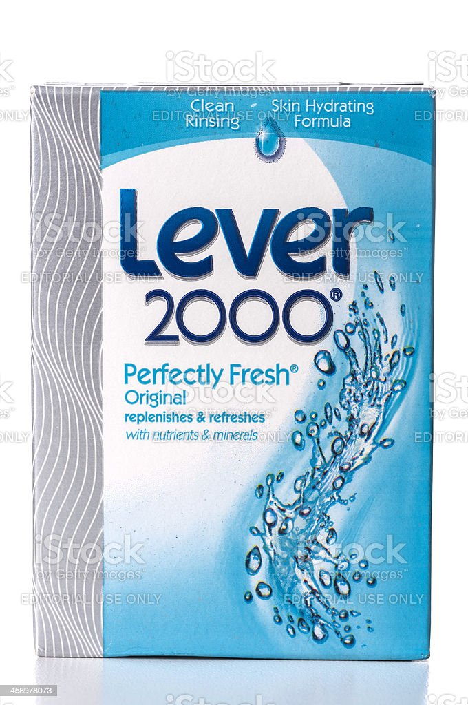 Lever 2000 Perfectly Fresh soap box stock photo