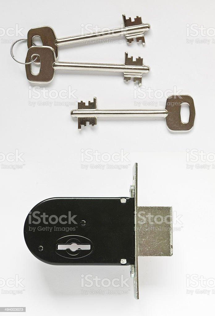 7 lever deadlock with keys stock photo