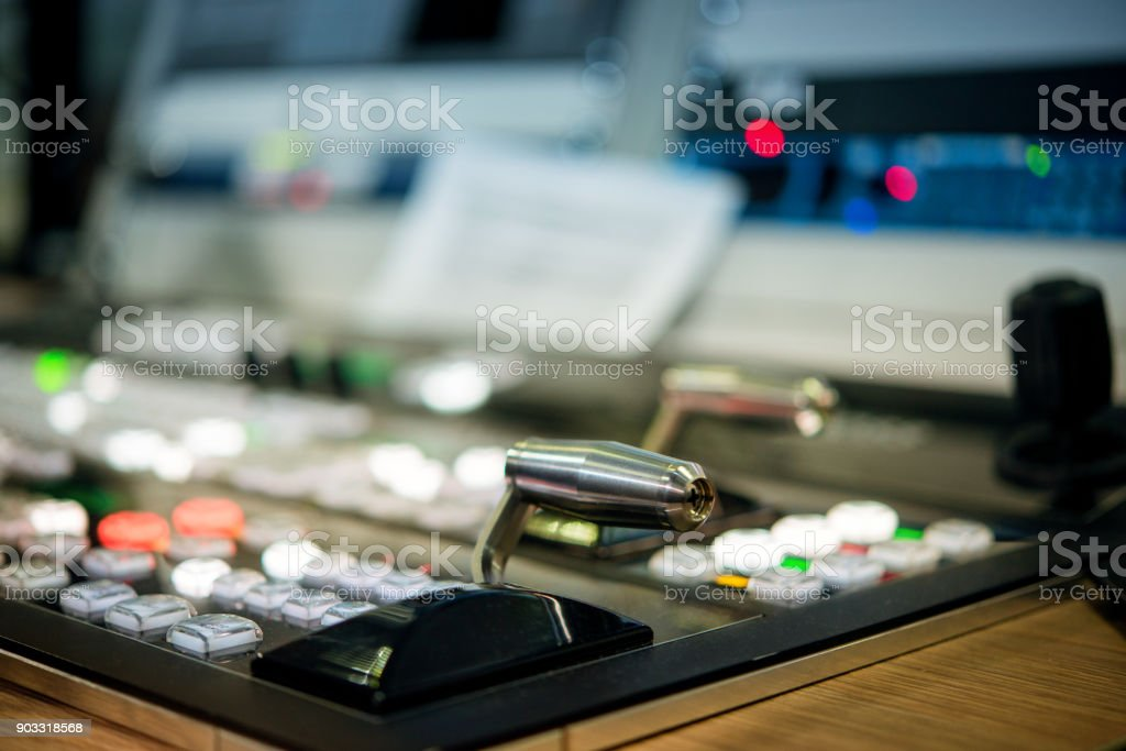 lever switch on the control panel television stock photo