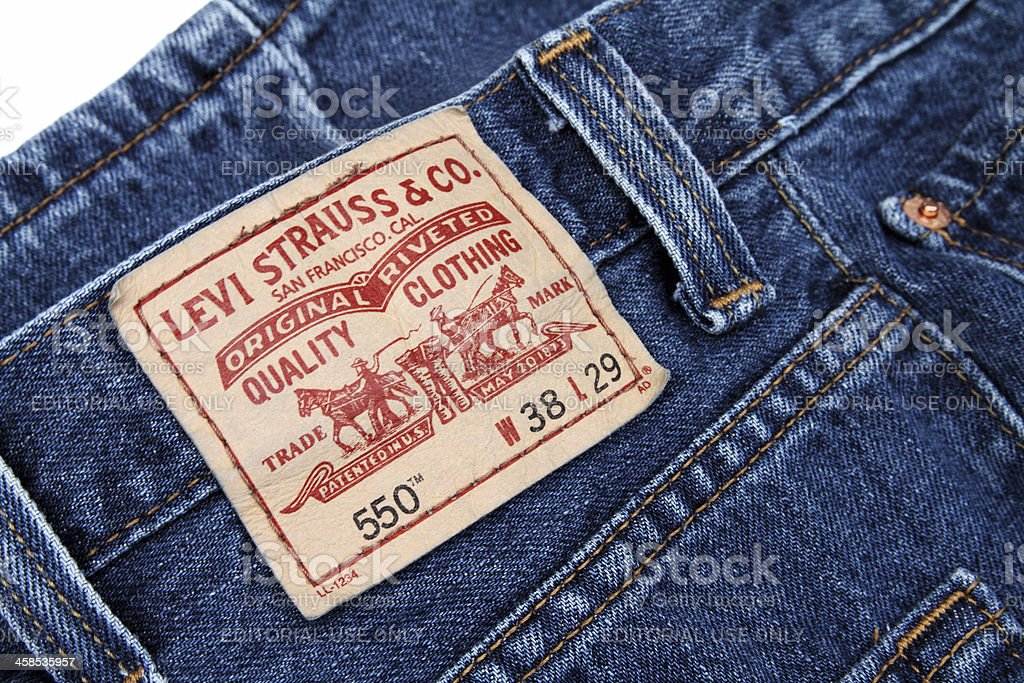 Levi Strauss label on a pair of blue jeans stock photo