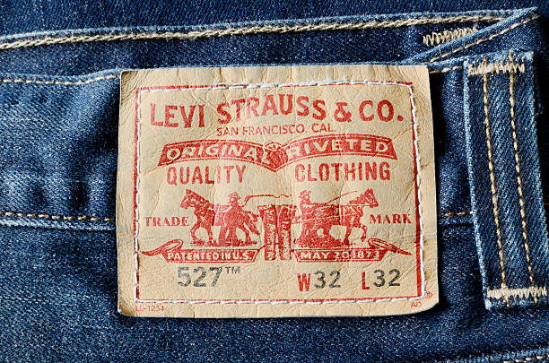 Levi Strauss label on a pair of mens blue jeans stock photo