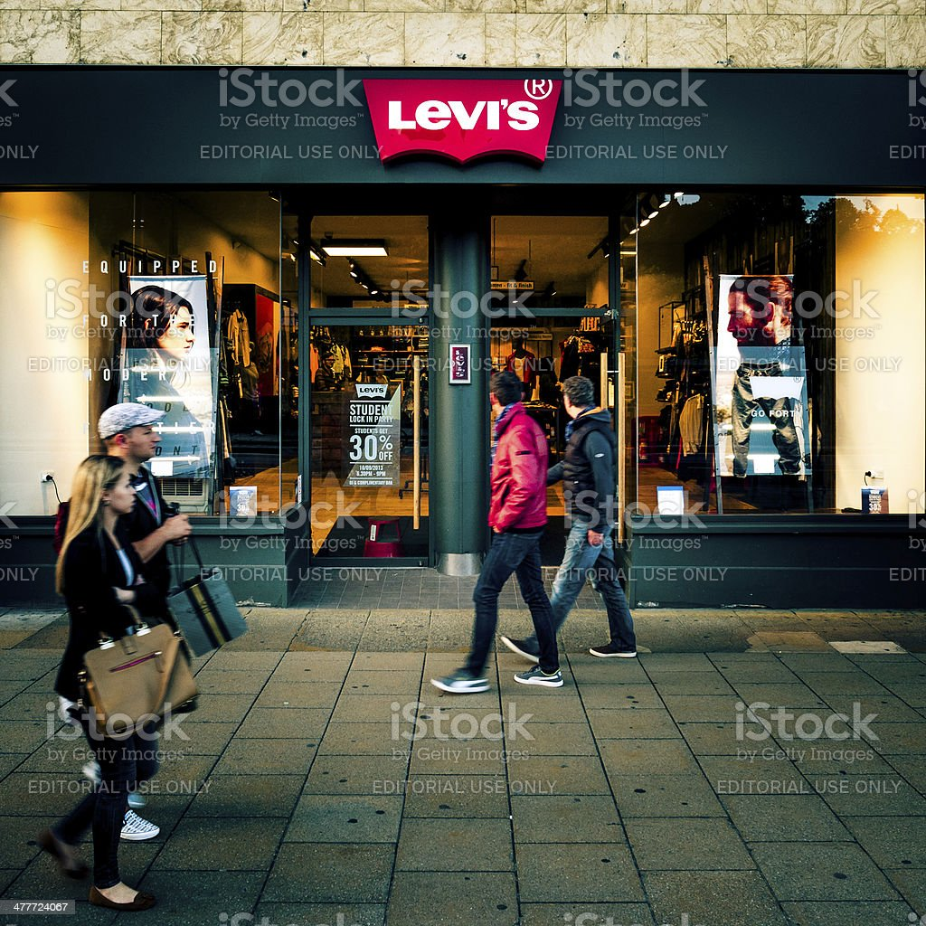 Levi's shop front on Princes Street, Edinburgh royalty-free stock photo