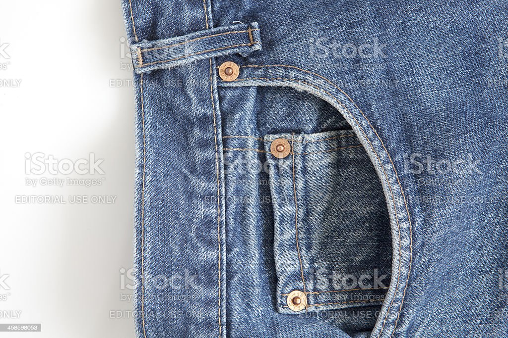 Levi's Strauss Blue Jeans (detail) on White stock photo