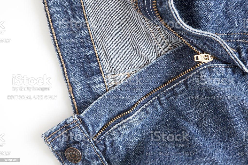Levi's Strauss Blue Jeans (detail, zipper) on White foto