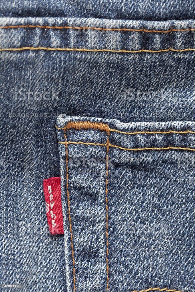Levi's Strauss Blue Jeans (detail) stock photo