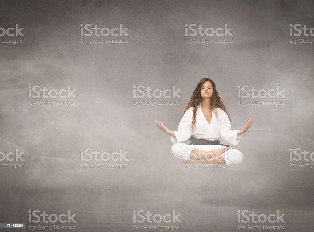 levitation for an oriental warrior stock photo