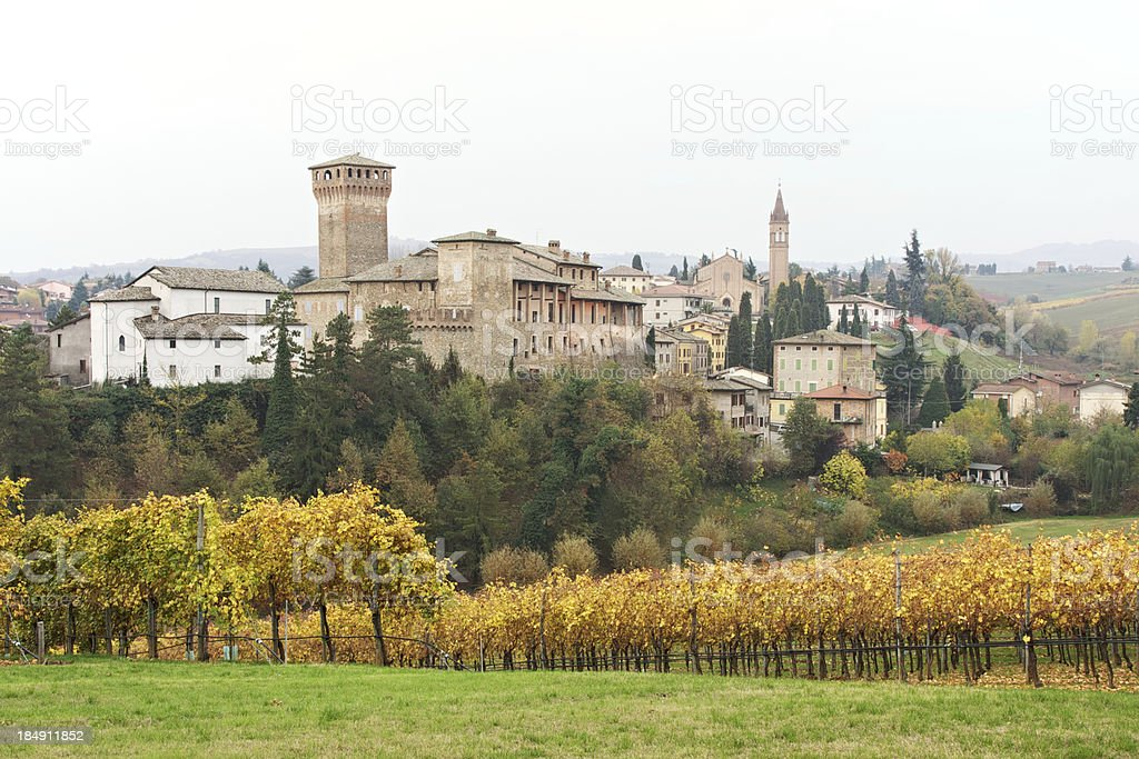 Levizzano Castle in autumn. Castelvetro of Modena. Italy. stock photo