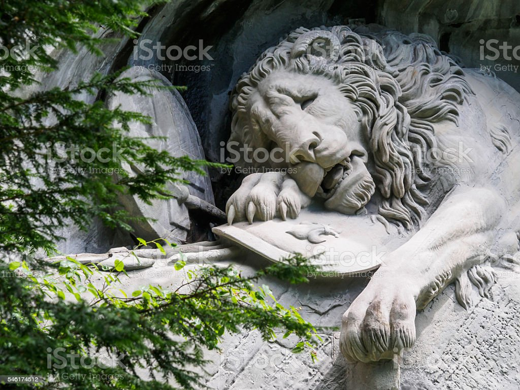 Lewendenkmal, the lion monument landmark in Lucerne, Switzerland stock photo