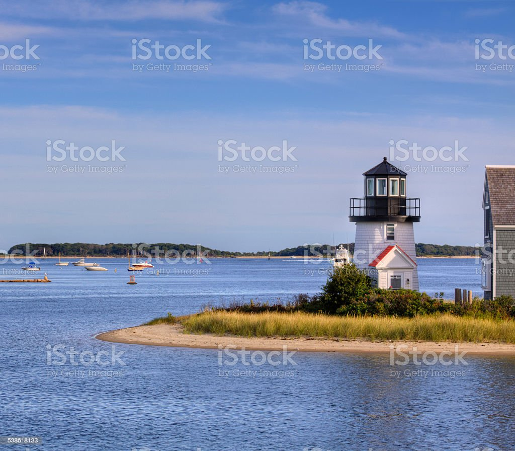 Lewis Bay Lighthouse in the evening, Hyannis, Cape Cod, Massachusetts. stock photo