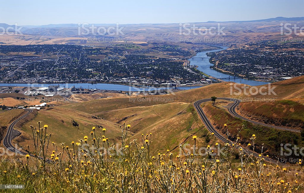 Lewiston Hill Snake River Idaho stock photo
