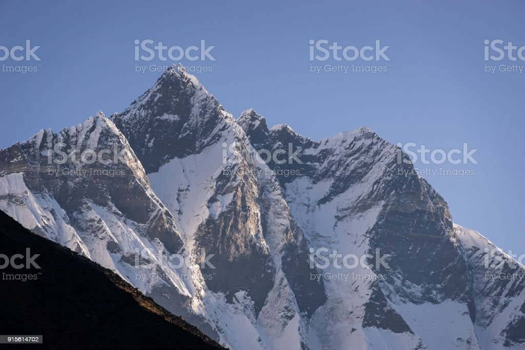 Lhotse mountain peak, 4th highest mountain peak in the world, Everest region, Nepal stock photo