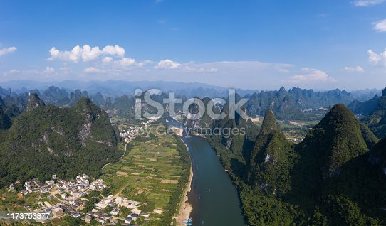 Aerial photo of guilin scenery in China