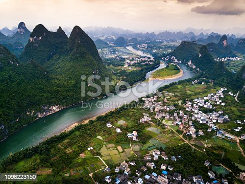 Li river in Yangshuo near Guilin in China