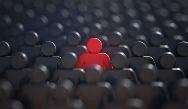 Liadership, difference and standing out of crowd concept. 3D rendered illustration. stock photo