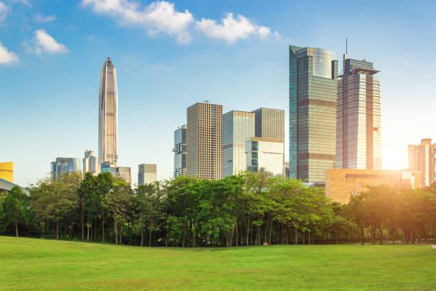 Grupo de edificio Parque de la colina Lianhua y CDB en Shenzhen - foto de stock