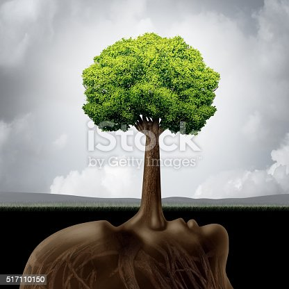 Liar concept as a corruption symbol for built on lies as a long nose protruding out shaped as a green tree providing false guidance and fraudulent advice in business or the environment..