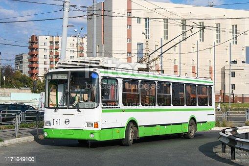Chelyabinsk, Russia - September 18, 2009: Urban trolleybus Liaz 5280 in the city street.