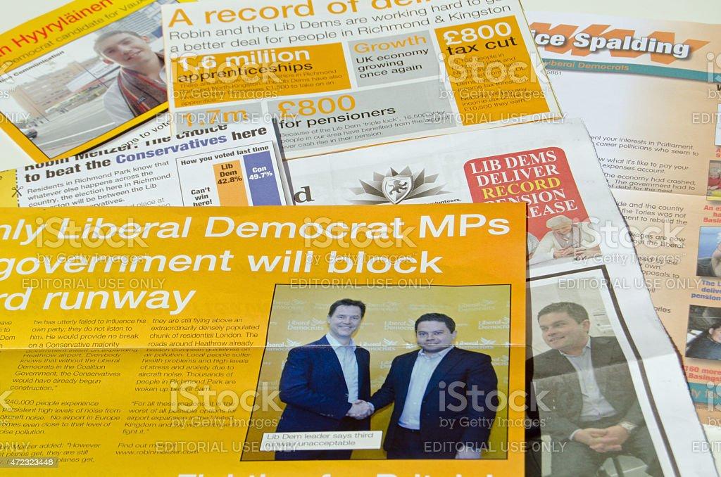 Liberal Democrat Party campaign leaflets stock photo