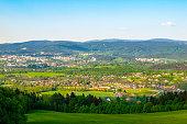 istock Liberec City Panorama with Jizera Mountains on the background, Czech Republic. Sunny spring day 957499560