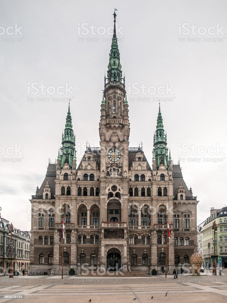 Liberec Town Hall, historical building in the city centre, Czech Republic stock photo