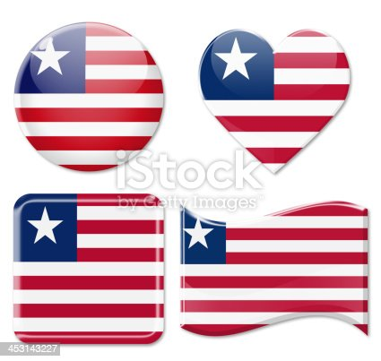 istock Liberia flag and Icon Set 453143227