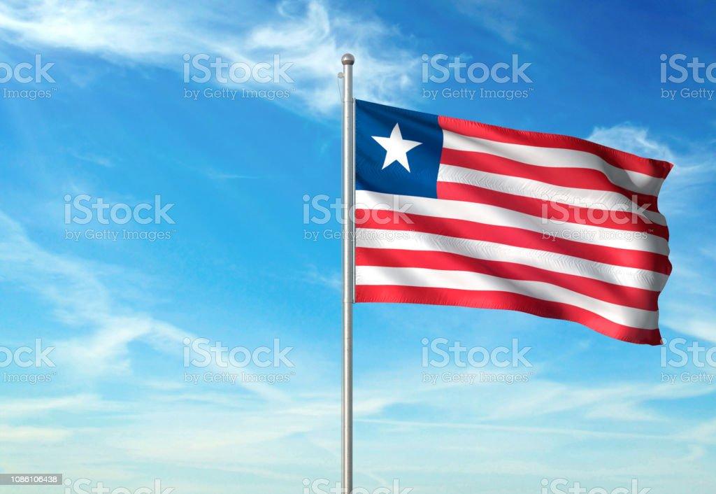 Liberia Flag Waving Cloudy Sky Background Stock Photo