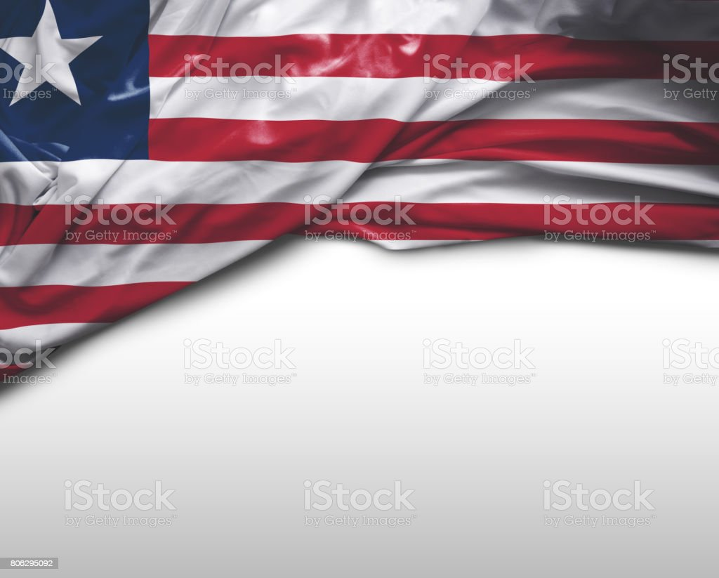 Liberia waving flag stock photo