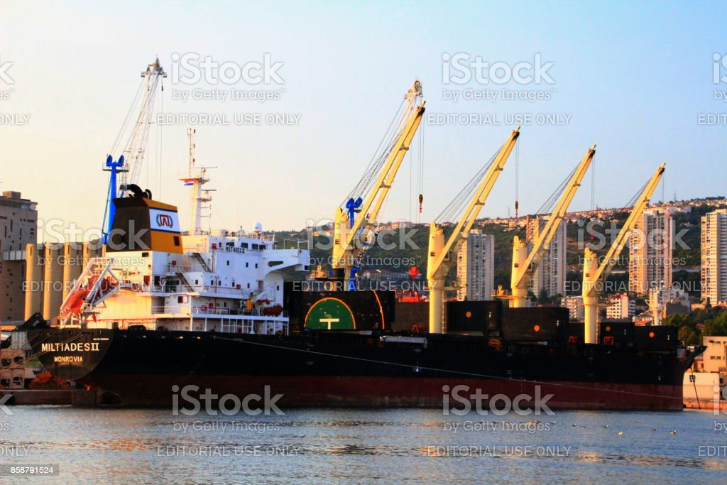 Liberian bulk carrier Miltiades II moors at the port of Rijeka stock photo