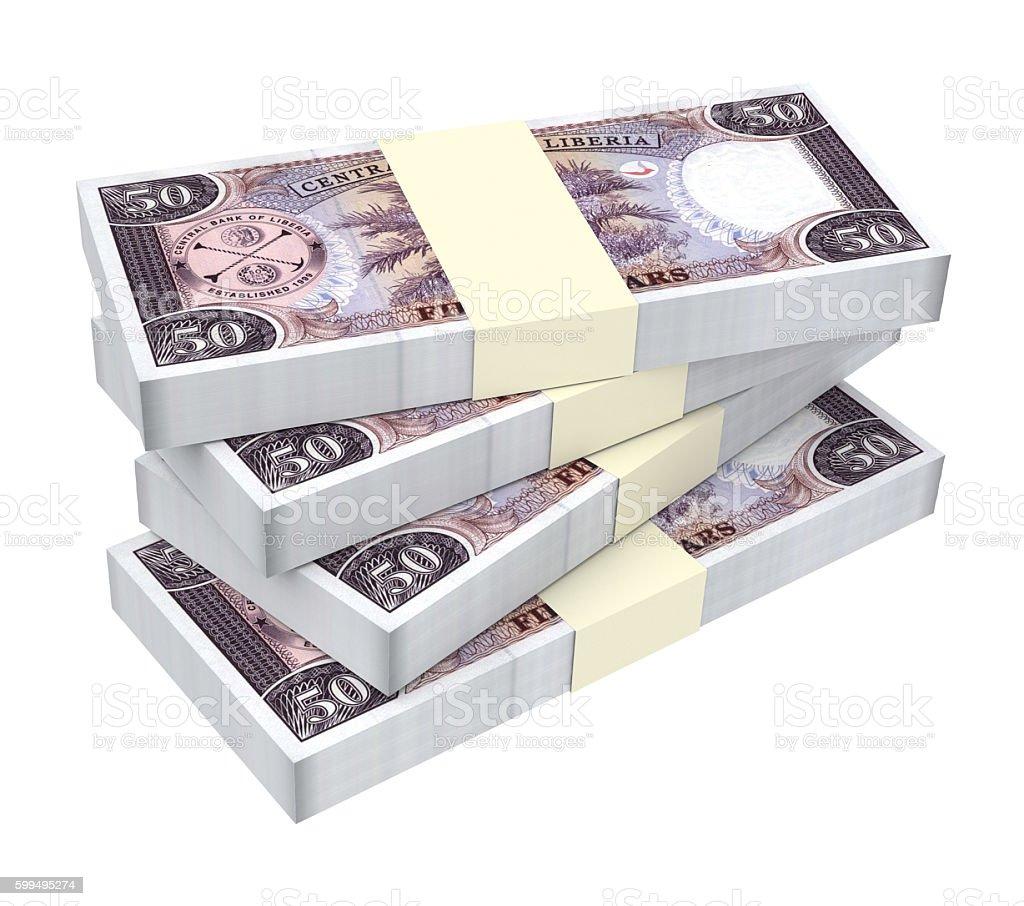 Liberian dollar bills isolated on white background. stock photo