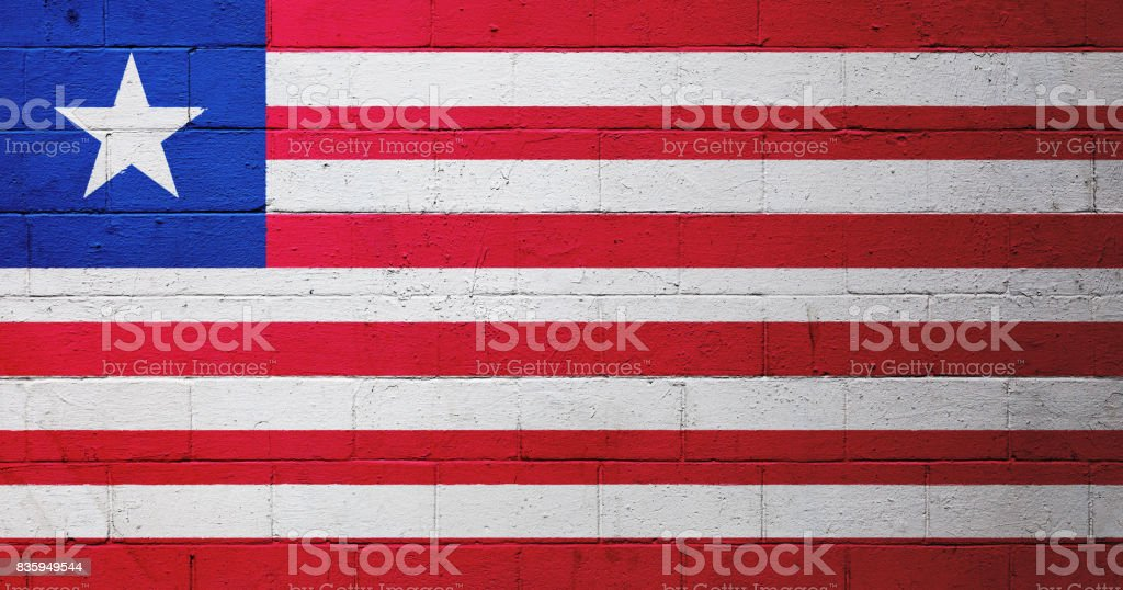 Liberian flag painted on a wall stock photo
