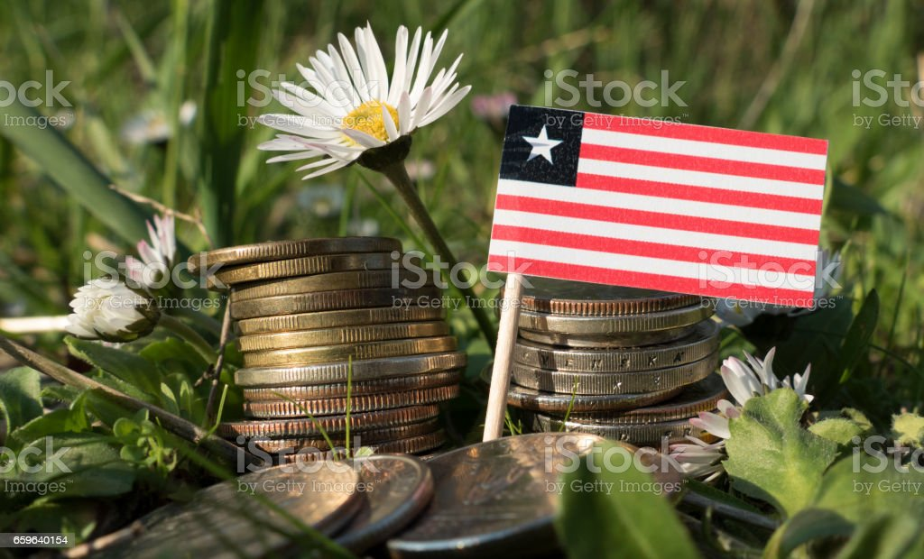 Liberian flag with stack of money coins with grass and flowers stock photo